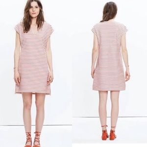 Madewell red striped short sleeve cotton dress